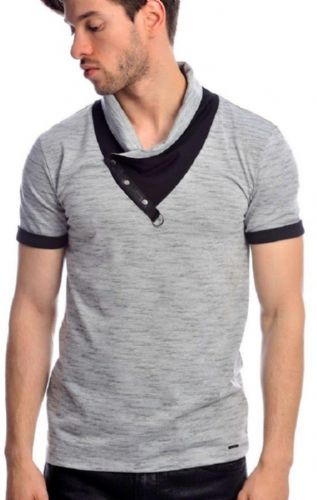 Fargo Designer Grey Black Melange Cowl Neck Crew T Shirt Detailed Reg Fit